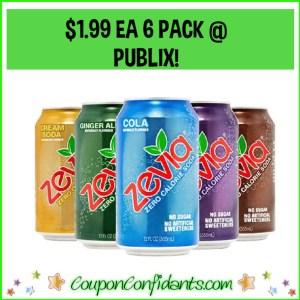 Zevia 6 packs $1.99 each at Publix!