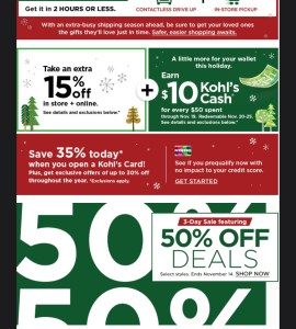 NEW Kohl's 50% Sale!! Ends today 11/4!!