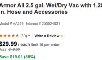 Home Depot: Armor All 2.5 Gallon Wet/Dry Vacuum Only $29.99 Shipped (Reg. $49!)
