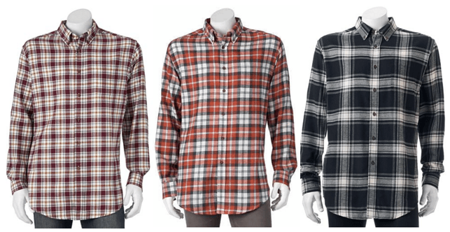 Croft & Barrow Men's Plaid Flannel Button Down Shirts, ONLY $5.66 ...