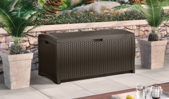 Suncast 99-Gallon Resin Wicker Deck Box $75.50 (reg. $149.99)