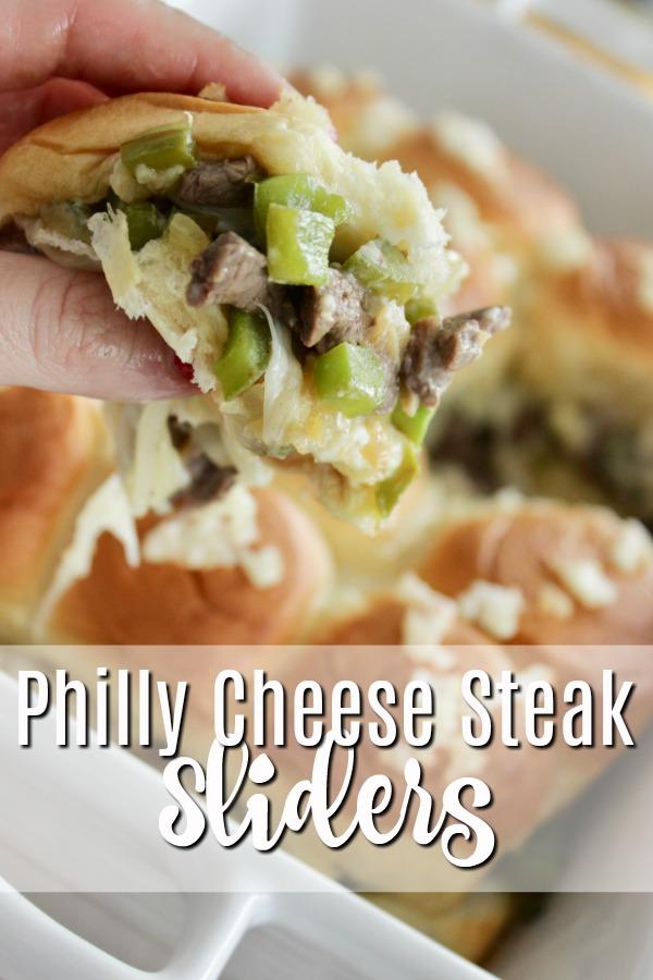 Philly Cheese steak sliders in white baking dish