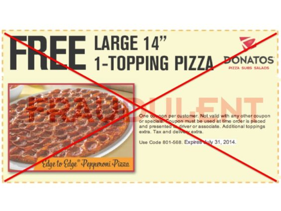 graphic relating to Donatos Coupons Printable identified as Fraudulent\