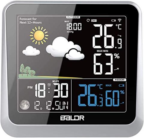 60 off touch color lcd screen wireless weather station alarm clock