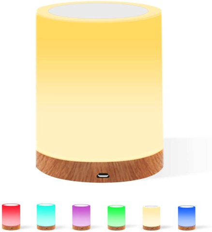 61 off touching control bedside light with remote 13 colors and 3 lighting modes timer function