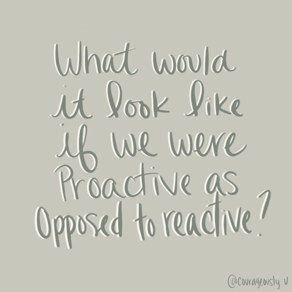 quote created by courageously.u about being proactive as opposed to reactive