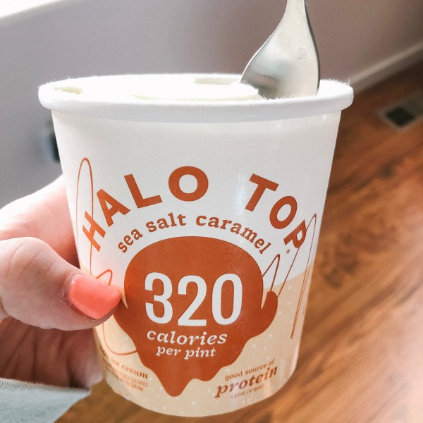 Halo Top sea salt caramel ice cream being held by courageously.u
