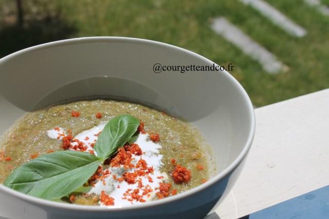 Soupe Froide courgette/tomate/crème de coco