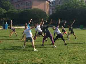 Yoga pour runner en groupe