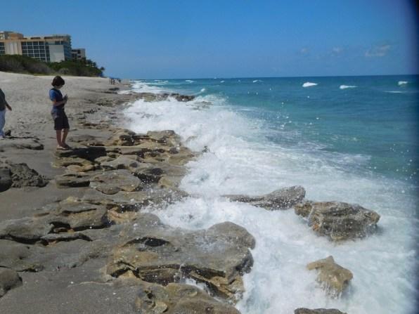 Vagues dans le corail sur la Plage de Carlin Park à Jupiter / Floride