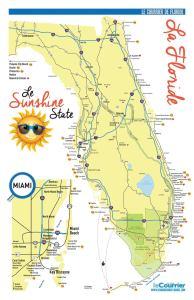 Carte tourisme Floride : votre carte touristique de Miami et de la Floride pour votre voyage et vos vacances dans le Sunshine State