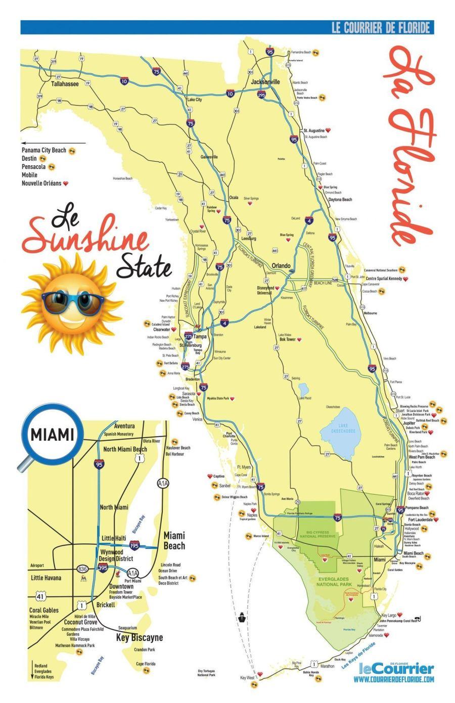 Carte tourisme Floride : votre carte de la Floride et de Miami pour votre voyage et vos vacances dans le Sunshine State - touristique