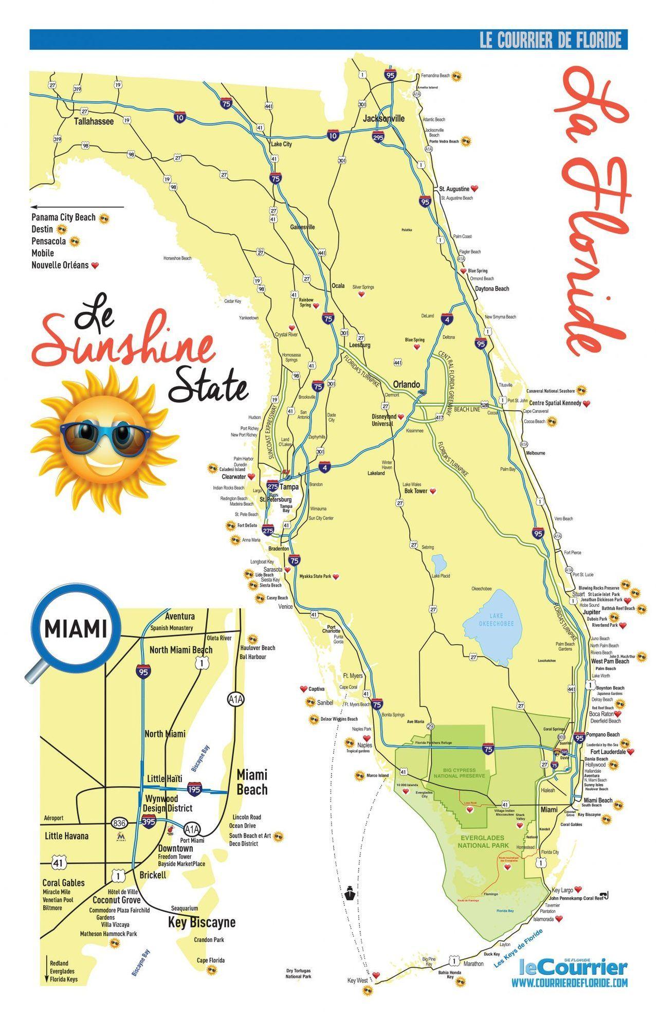 Carte Amerique Floride.Carte De La Floride Et De Miami Le Courrier De Floride