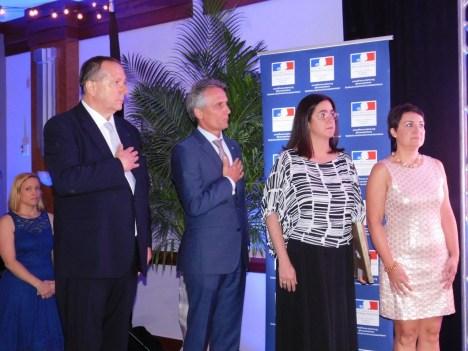 Xavier Capdevielle, Luigi Boria, la représentante du comté de Miami-Dade, et Mme Létrilliart, au 14 juillet 2016 du Consul de France à Miami