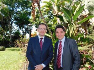 Le consul Clément Leclerc et le sénateur Olivier Cadic au Petit déjeuner de rentrée de Miami Accueil