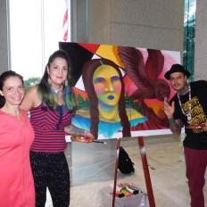 Audrey Decker (Street Art for Mankind) avec les artistes canadiens Clandestinos.