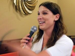 Jade Vinet, directrice de la CCQF, lors de la Fête de la St Jean en Floride 2017.