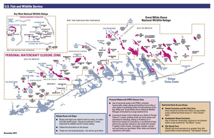 Cliquez pour agrandir la carte de la réserve naturelle Great White Heron National Refuge : les îles du back country des Lower Keys de Floride.