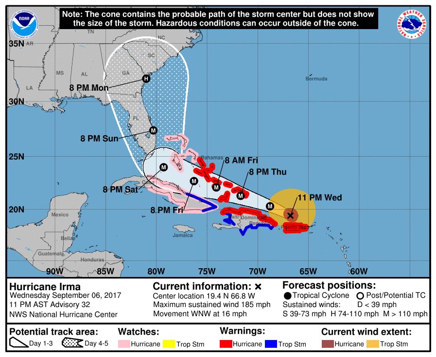 La carte de l'ouragan Irma / NHC / Mercredi à 23h.