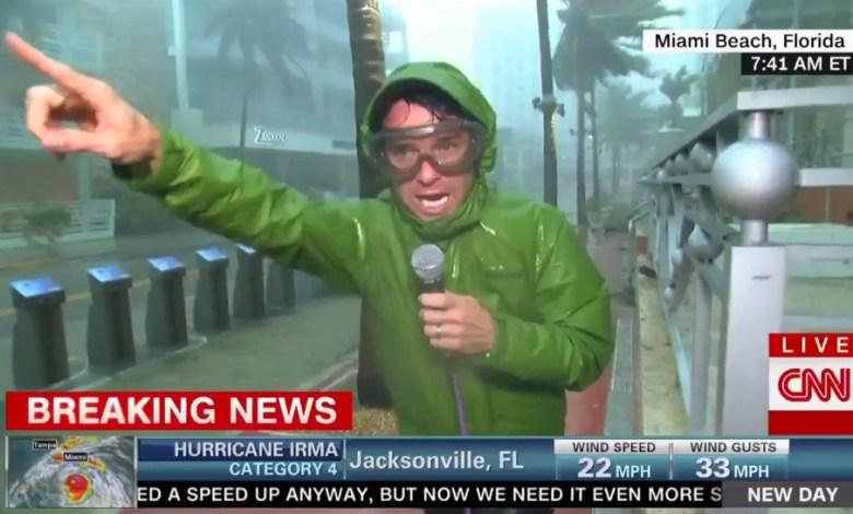 Journaliste de CNN durant l'ouragan Irma, à Miami Beach