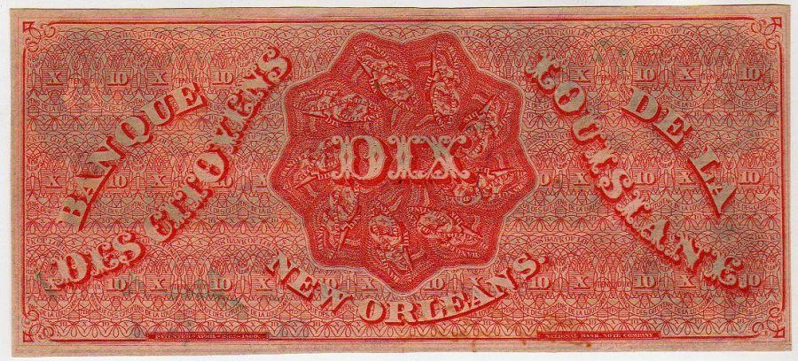 Billet de Dix Dollars en Français, banque de Louisiane, Dixie
