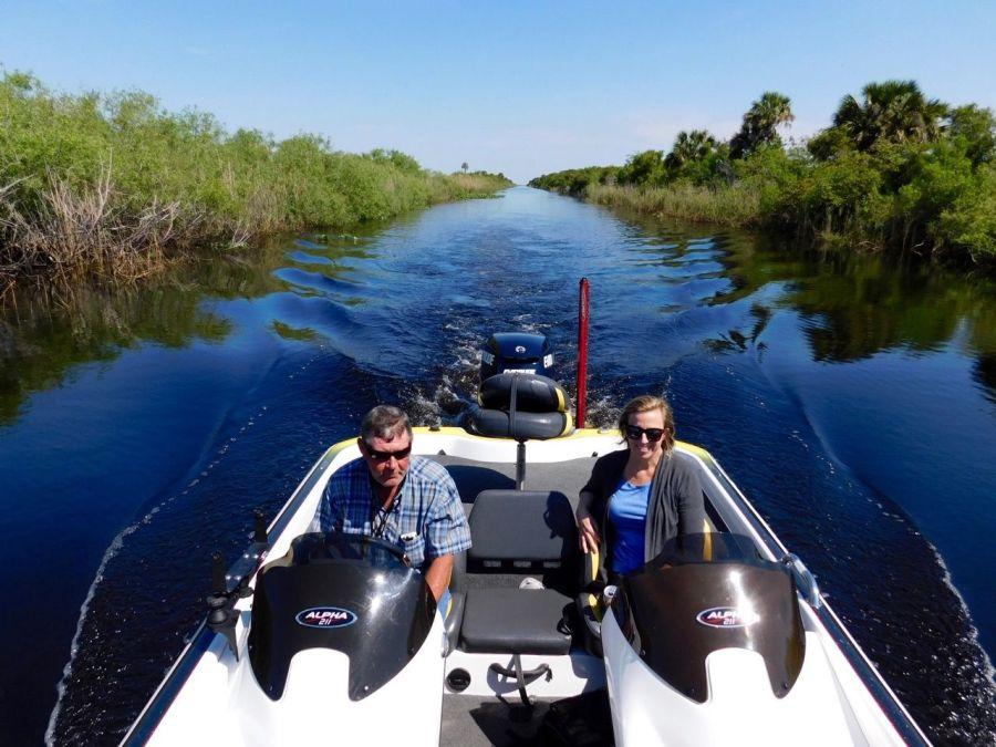 Avec le Captain Robert Power sur le Lake Okeechobee à Moore Haven en Floride