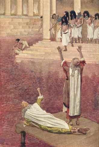 Eaux du fleuve changées en sang, gouache de James Tissot, vers 1895-1900.