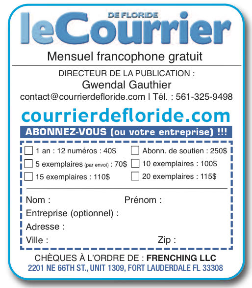 bulletin d'abonnement au Courrier de Floride