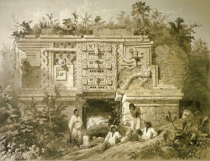 Décorations de style Puuc à Uxmal. Dessin de Frederick Catherwood