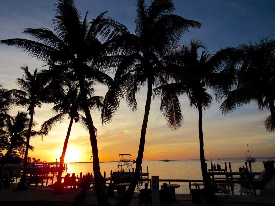 Coucher de soleil à Key Largo, près du Caribbean Club.