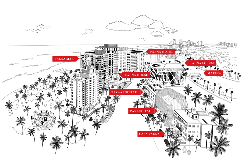 Carte du resort Faena à Miami Beach