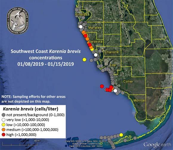 LA CARTE FWC des marées rouges en Floride AU 16 JANVIER
