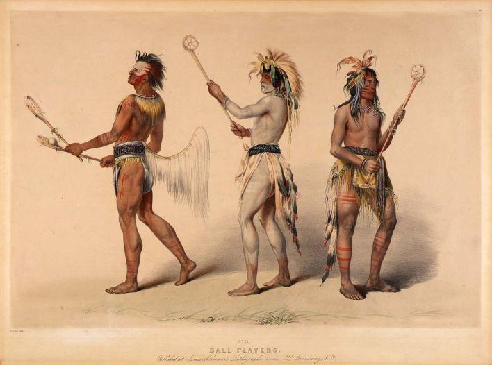 Peinture de George Catlin illustrant les Amérindiens jouant à la crosse.