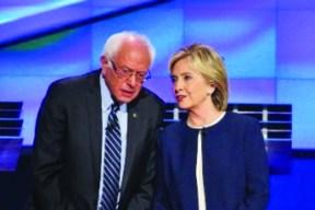 Bernie Sanders et Hillary Clinton lors d'un débat Démocrate.