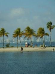 Miami vu depuis la plage du Matheson Hammock Park à Coral Gables / Floride