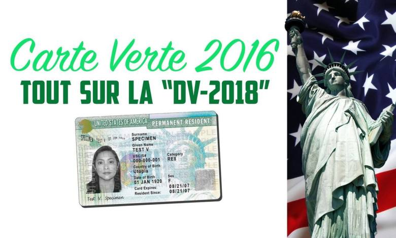 Carte verte 2016 / Green Card DV2018