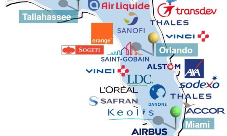 Carte des entreprises françaises en Floride