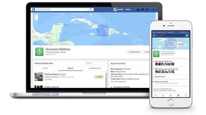 Application Facebook Safety Check : utile également en cas d'ouragan