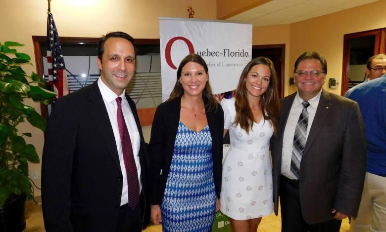 Glenn Cooper (co-président CCQF), Jade Vinet et Vanessa Racicot (directrices l'une en Floride et l'autre au Québec) et Daniel Veilleux, président de Desjardins Bank et lui aussi membre du board de la CCQF.