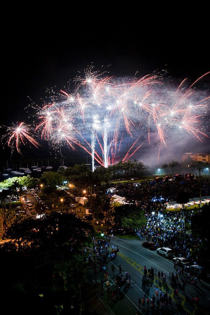 Feu d'artifice du 4th of July au Regatta Park de Coconut Grove