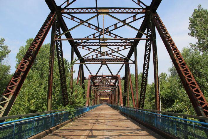 Pont Old Chain of Rocks Bridge (Missouri) au-dessus du Mississippi.