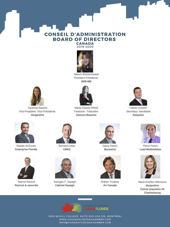 Le bureau 2019-2020 de la Chambre de Commerce Canada-Floride