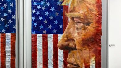 Donald Trump par Michael E. Hamiltondurant la foire d'art contemporain Red Dot dans le quartier de Wynwood à Miami.