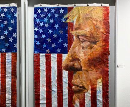 Donald Trump par Michael E. Hamiltondurant la foire d'art contemporain Red Dot dans le quartier de Wynwood à Miami.