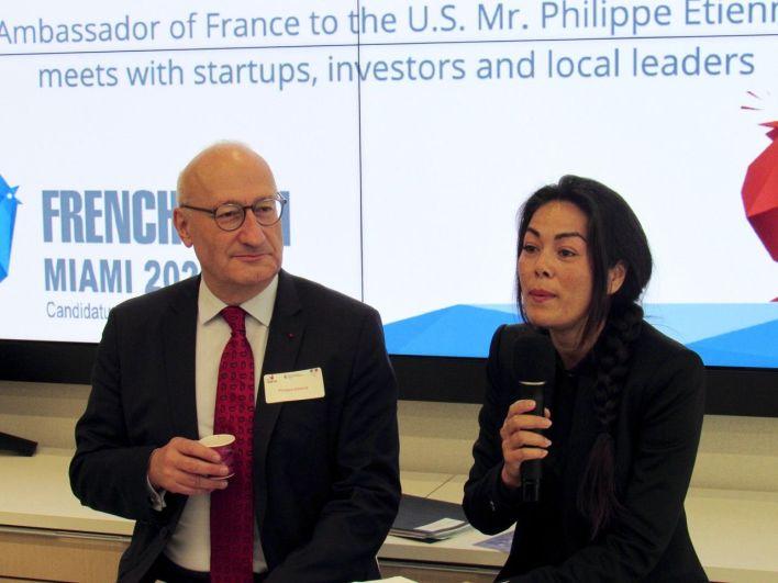 Philippe Etienne (ambassadeur) et Rachel Raynaud (directrice de la chambre de Commerce franco-américaine de Miami