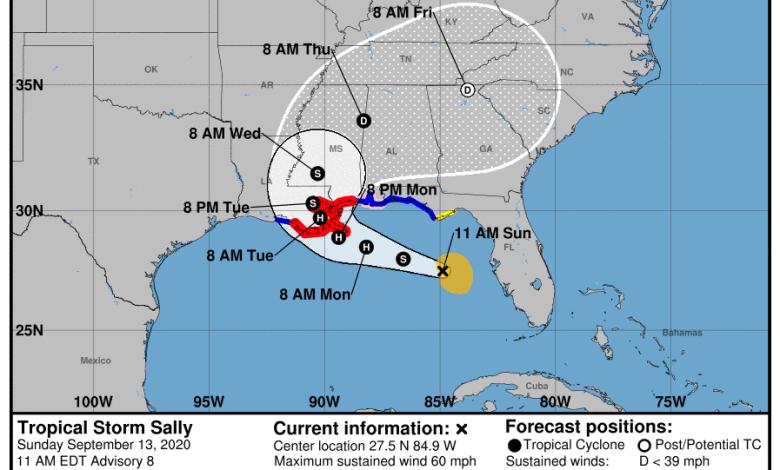 La trajectoire prévue par le NHC pour Sally