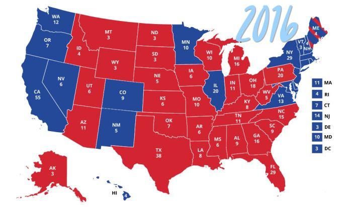 Les Swing States de 2016