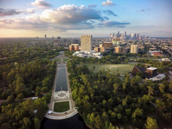 Skyline de Houston à Hermann Park