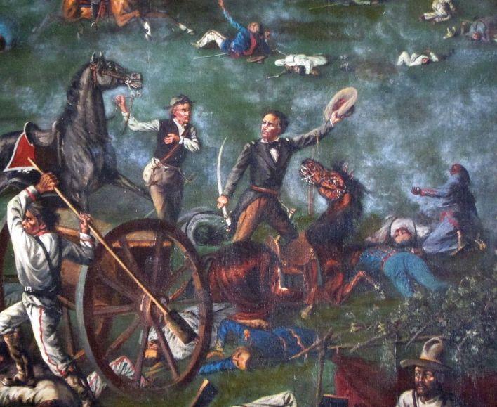Sam Houston à la bataille de San Jacinto (détail d'une peinture au capitole du Texas)