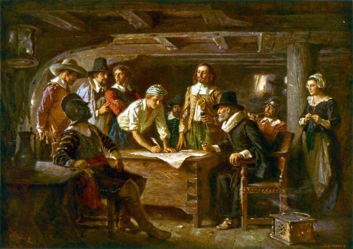 La signature du Mayflower Compact, tableau d'Edward Percy Moran, conservé au musée de Plymouth.